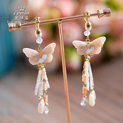 Elsie Wei bride wedding dress handmade shell butterfly earrings beaded earrings without pierced ear clip