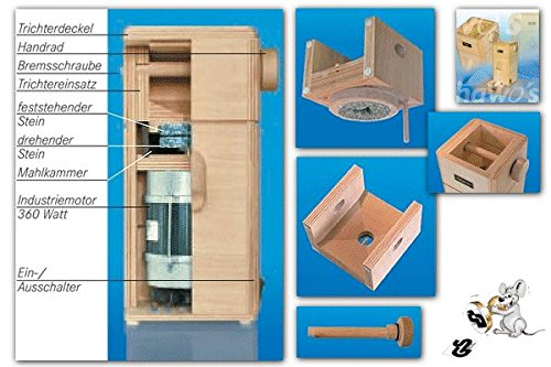 hawos Easy Stone Grain Flour Mill in Wood 110 Volts 360 Watts Grinding Rate 4 oz / min by Happy Mills (Image #8)