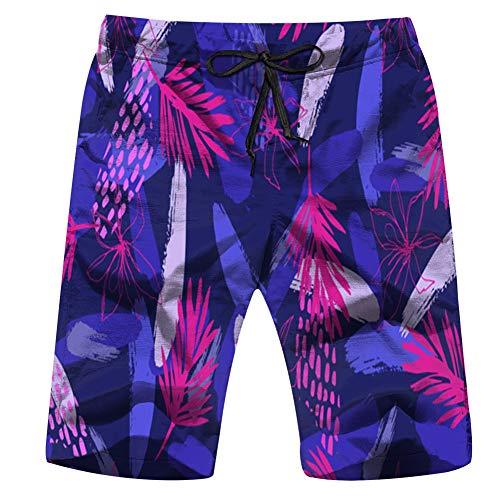 Trendy Fashion Creative Leaves Mens Beach Pants 3D Printed Casual Fashion Adjustable Beach Board Shorts L