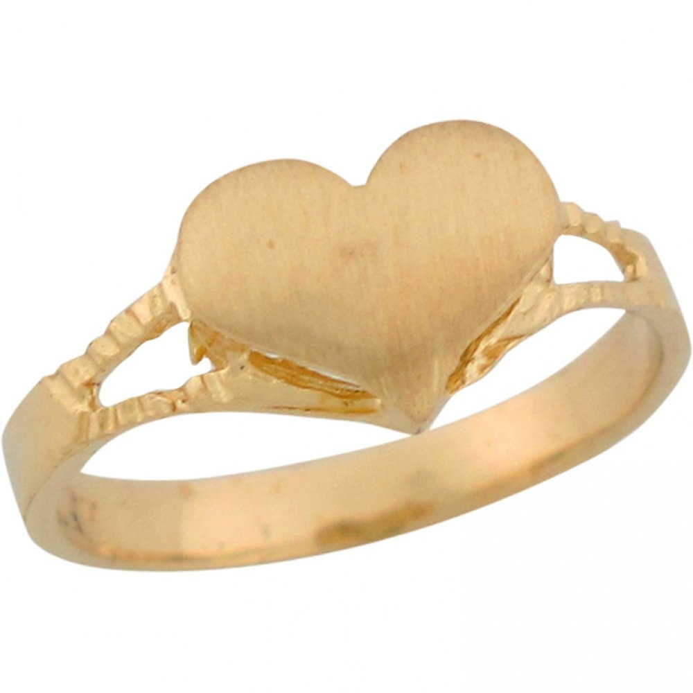 14k Yellow Gold Heart Shaped Signet Design Dainty Baby Ring