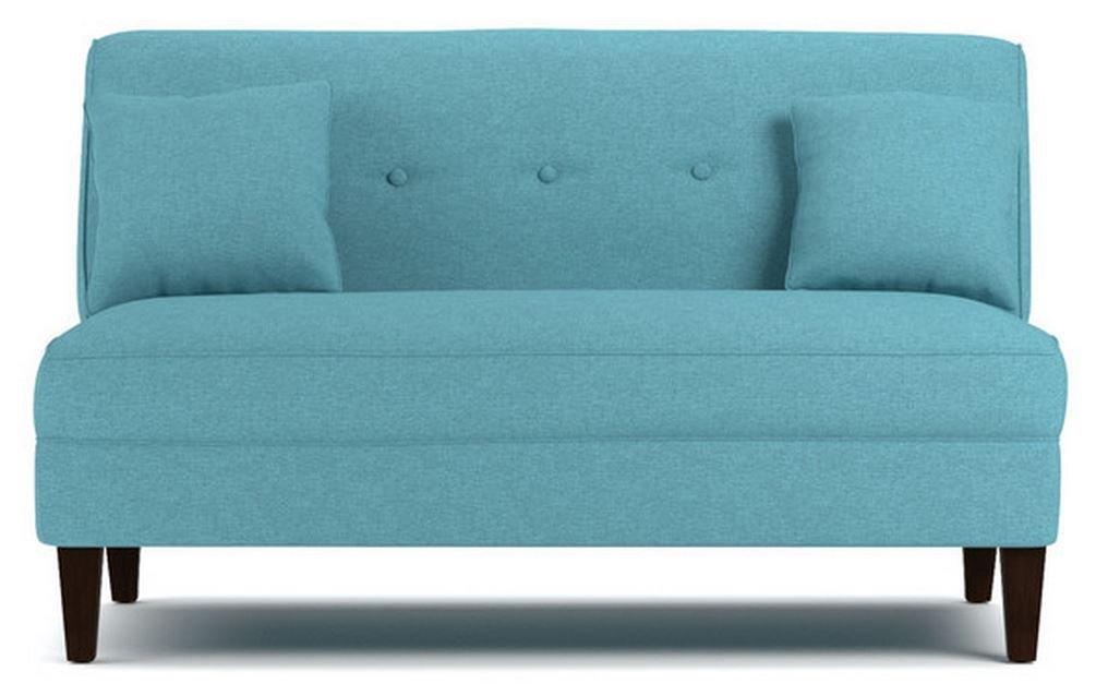 Contemporary Sofa Loveseat - This Upholstered Couch Is Made of Wood and Linen Material - Perfect Seat for Your Bedroom, Living Room - Free Toss Pillows - 1 Year Warranty! (Turquoise Blue Linen)
