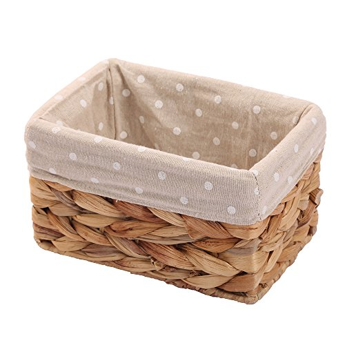 KINGWILLOW Rectangular Wicker Storage Basket&Bins Container, Organizer Box, Art & Craft (Small)