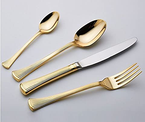 Besplore Stainless Steel Flatware Set,Gold-Plated,Set of 4 - Damascus Medallion