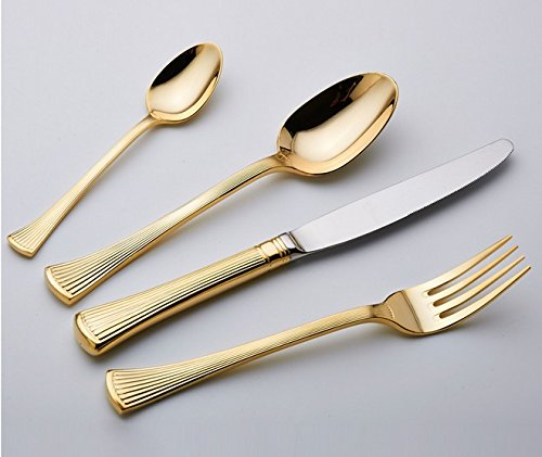 Besplore Stainless Steel Flatware Set,Gold-Plated,Set of - Lim Designer