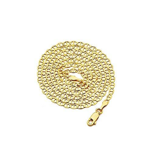 LoveBling 14K Yellow Gold 3mm Solid Mariner Chain Necklace with Lobster Lock (24 inches)