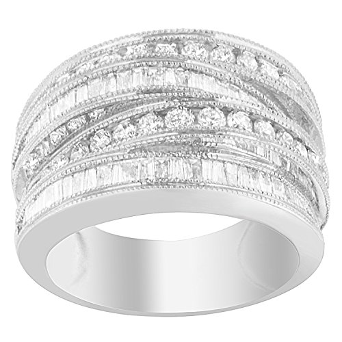 14k White Gold Round And Baguette cut Diamond Modern Band Ring (1.55 cttw, H-I Color, SI2-I1 Clarity)