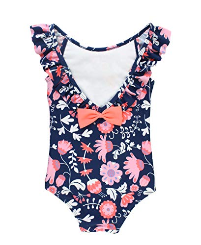 Swimsuit One Infant Ruffle Piece (RuffleButts Baby/Toddler Girls Floral One Piece Swimsuit with Ruffles - 18-24m)