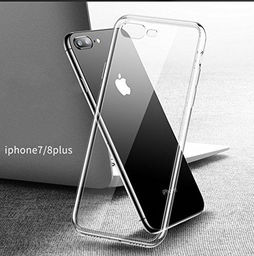 Vidgoo Case for IPhone 8 Plus Iphone 7 Plus Tempered Glass Cover+ TPU Soft Silicone Bumper Reinforced Corners Shock Absorption Anti-Scratch HD Clear Back