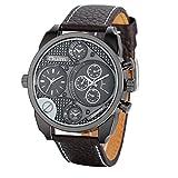JewelryWe Luxury Men's Watch Dual Time Zones Big Dial Leather Band Quartz Analog Wristwatch Army Watches
