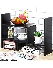 Expandable Wood Desktop Bookshelf Desktop Organizer Office Storage Rack Wood Display Shelf - Free Style Display True Natural Stand Shelf Rack Assembled Bookcase Adjustable Display Rack