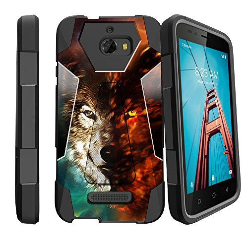 (MINITURTLE Case Compatible w/Cases for CoolPad Defiant   Defiant Stand Case [Shock Fusion] Impact Scratch Resistant Hybrid Dual Layer Armor Cover w/Stand LG Wolf)