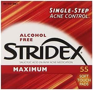 Stridex Strength Medicated Pads, Maximum, 55 Count