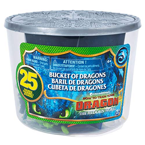 How to Train Your Dragon 3: The Hidden World Bucket of Dragons with 25 Mini Dragon and Human Figures Including Toothless, Hiccup, Astrid, Deadly Nadder, Gronckle, Monstrous Nightmare, Zippleback -