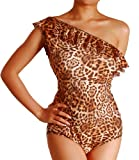 Cloris Murphy Womens One Shoulder Ruffled Monokini Swimwear Bathing Suit BN205 (M, Leopard)