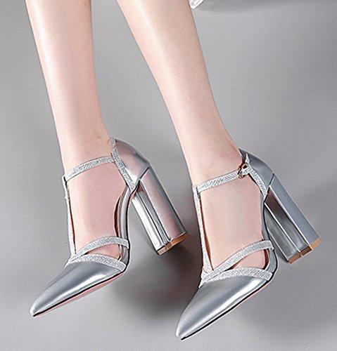 Aisun Women's Fashion Pointy Toe High Chunky Heels Sandals Silver jBha1N