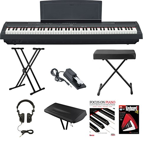 Yamaha P-115B 88-Key Graded Hammer Standard (GHS) Digital Piano (Black) Bundle with Knox Double X Stand Knox Wide Bench Sustain Pedal Dust Cover Headphones and FastTrack Book and DVD by Yamaha