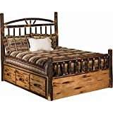 King Size Log Bed Frame Hickory Log Wagon Wheel Style Bed with Storage - King Size