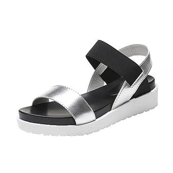 Elecenty Damen Sandalen Schuhe Schuh Sommerschuhe Bequeme Frauen Sandaletten Keilabsatz Offene Sandalen Offene Weich Flache Strass Outdoor  38Silver