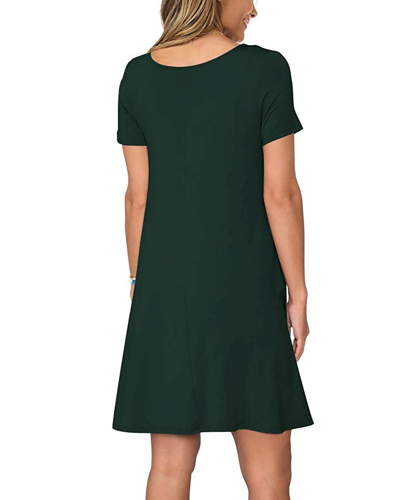 9f527e573b KORSIS Women's Summer Casual T Shirt Dresses Short Sleeve Swing Dress  Pockets