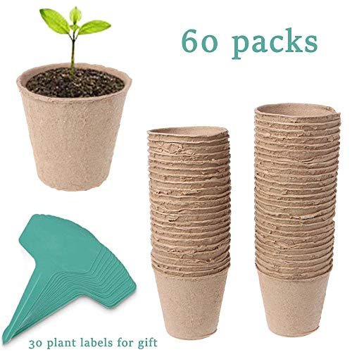 """JTEEY 60 Pack 3"""" Peat Pots Plant Seed Starters Kit for seedlings & Herb,Transplant Seedlings Pots,Organic Biodegradable Eco-Friendly Pots for Seedlings, Flowers, Vegetables with 30 Pcs Plant Labels"""