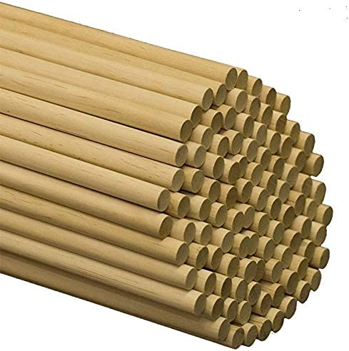 Pack of 100 Pinehurst Crafts 1//4 Inch x 12 Inch Unfinished Wooden Dowel Rods