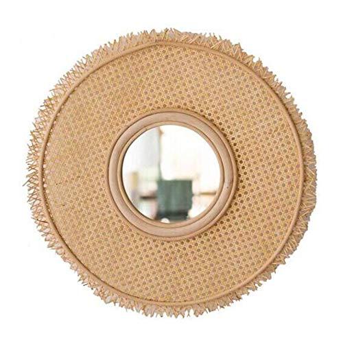 Cqing Vintage Natural Bamboo Rattan Decorative Wall Mirror Handmade Sun Shaped Vanity - Mirrors Rattan Standing Bathroom