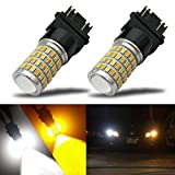 #7: iBrightstar Newest Super Bright 3157 4157 3155 3457 Switchback LED Bulbs with Projector Replacement for Daytime Running Lights / DRL and Turn Signal Lights,White/Amber