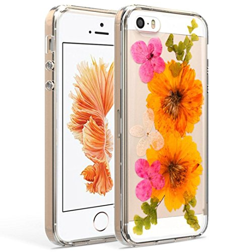 For iphone SE/5s/5 Case,GBSELL True Flower Specimen TPU Rubber Skin Case Cover Premium Protective (B)