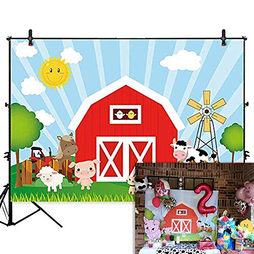 Allenjoy 7x5ft Polyester Cartoon Farm Barnyard Animal Theme Backdrop Red Barn Little Farmer Birthday Party Banner Cake Table Decorations Baby Shower Photography Background Photo Booth Studio Props