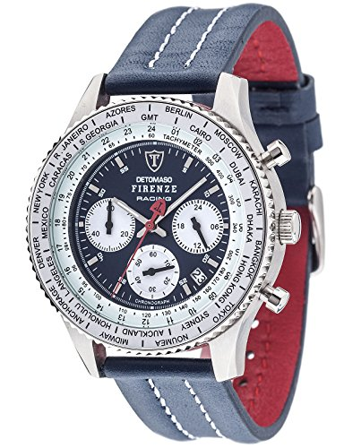 DETOMASO Men's Quartz Stainless Steel and Leather Casual Watch, Color:Blue (Model: DT1069-A)