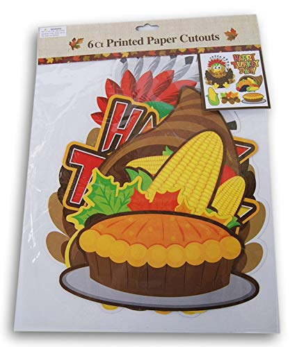 (Regent Thanksgiving Happy Turkey Day Paper Cutout Decor - 6 Pc)