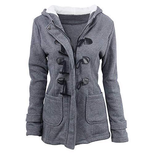 Calda Moda Cerniera Invernali Modern Mode Marca Cappuccio Tasche Giacca Anteriori Con Dunkelgrau Giaccone Stile Coat Lunga Outwear Donna Monocromo Manica Di wH1nx6q