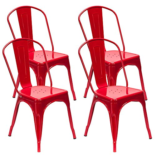 VINGLI Metal Dining Chair Stackable Chair Classic Chic Industrial Vintage Tolix Style Bar Chair with Back for Indoor Outdoor Kitchen Restaurant Cafe Bistro, Set of 4 (Red)