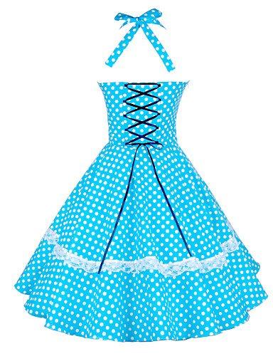 PU&PU Robe Aux femmes Grandes Tailles / Vintage / Soirée , Points Polka Licou Mi-long Coton / Dentelle , blue-l , blue-l