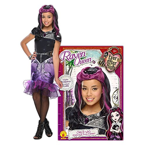 Ever After High Girls Raven Queen Costumes (Ever After High Raven Queen Deluxe Child Costume and Wig Bundle - L(12/14))