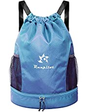 Drawstring Backpack Bag with Shoe Compartment,Waterproof Gym Sackpack with Dry Wet Separated,Sports,Yoga Gym, Swim Bag for Kids Men Women