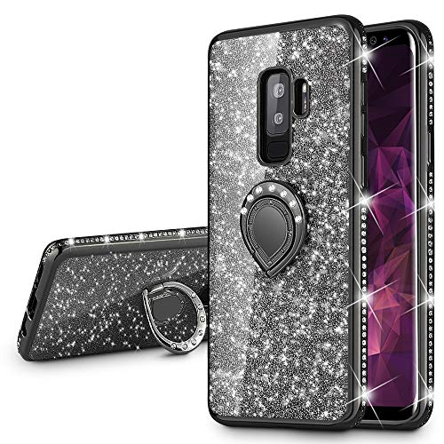 VEGO Galaxy S9 Plus Case Glitter Bling Diamond Case with Kickstand Rhinestone Bumper Sparkly Luxury Slim Soft Protective Case with Ring Stand for Samsung Galaxy S9 Plus (Black)