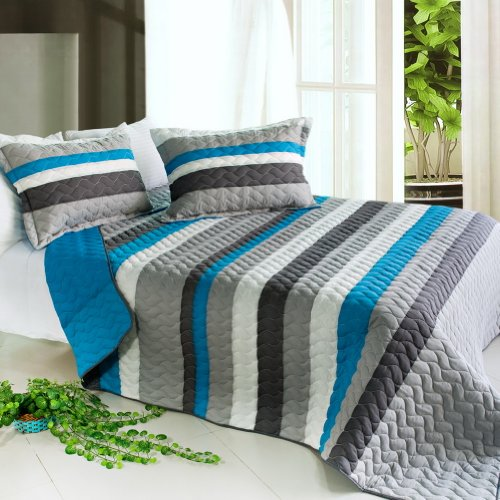 [Health Life] 3PC Vermicelli-Quilted Striped Quilt Set (Full/Queen Size) by Onitiva Quilt (Image #5)'