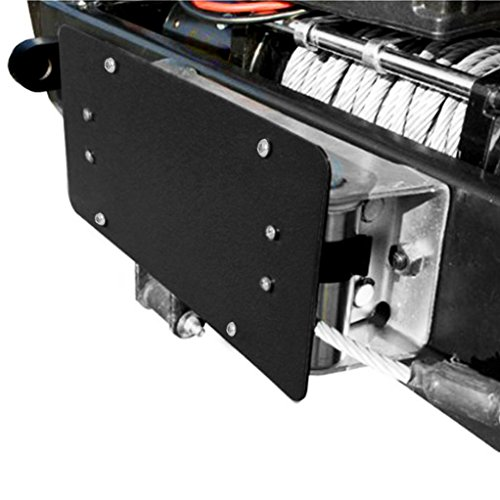 Razer Auto Winch Roller Fairlead License Plate Bracket Mount Universal for Jeep Truck Wrangler (Black)