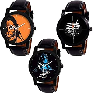 The Shopoholic Analogue Black Mahadev Dial Combo Watch for Men