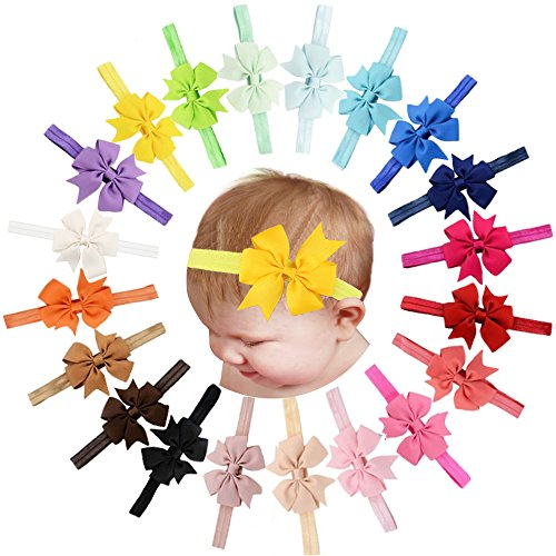 Price comparison product image 20 Pcs Baby Girls Headbands Grosgrain Ribbon Hair Bows for Infant Newborn