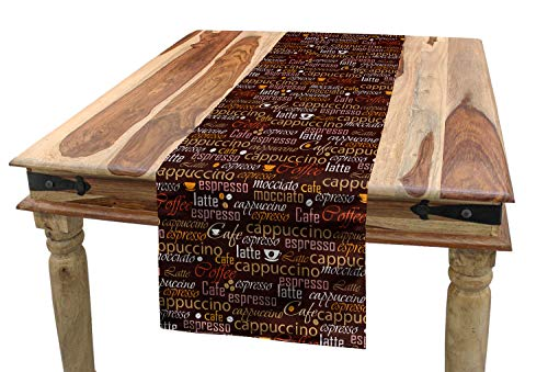 Lunarable Tea Party Table Runner, Cafe Typography Stylized Coffee Culture Words Cappuccino Latte Illustration, Dining Room Kitchen Rectangular Runner, 16 W X 72 L Inches, Chestnut - Runner Latte Table Cafe