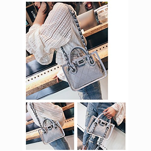 Beach Donalworld Blue Clear Chain Jelly Handbag Women's 8B0qtB6