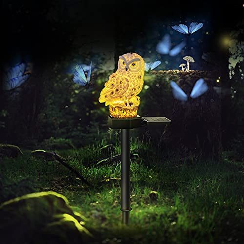 2 Pack Owl Solar LED Lights, 2 Pack Garden Waterproof Decorative with Stake for Outdoor Yard Pathway Outside Patio Lawn Decor Scare Birds Away