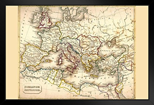 (Roman Empire Antique Style Map Framed Poster 20x14 inch)