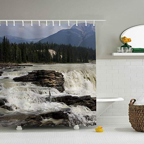 Waterfalls Jasper Rivert Rock Shower Curtain with Hooks for Bathroom, Mildew Resistant, Anti-Bacterial and Waterproof 65 × 71 inch (Necklace Jasper Fabric)