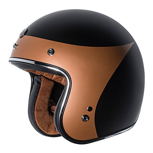 TORC Unisex-Adult Open-face Style T-50 3/4 Retro Motorcycle Helmet with Graphic (Copper Crow-L) (Flat Black, Large)