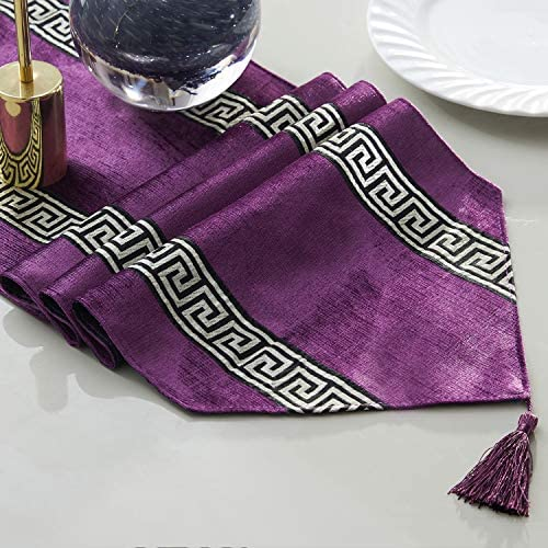 33cmX180cm 6ft Black Topfinel Stripe Geometric Table Runner Cloth with Tassels Dining Decoration for Wedding Dinner Party 13x71 Inches