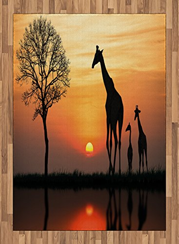 Africa Area Rug by Ambesonne, Giraffes on Bushes by the Lake Surface Horizon in the Middle of Nowhere Image, Flat Woven Accent Rug for Living Room Bedroom Dining Room, 5.2 x 7.5 FT, Orange Black by Ambesonne