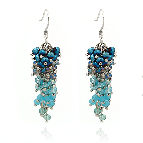 C&L Accessories C&L Colored Cluster Faceted Crystal Beads Dangle Earrings (Blue)